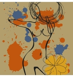 Art background with paint drops and nude woman vector image