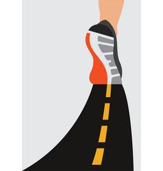 athlete runner feet running on road closeup on vector image
