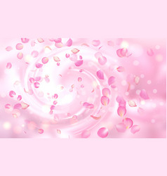 delicate background with falling pink rose vector image vector image