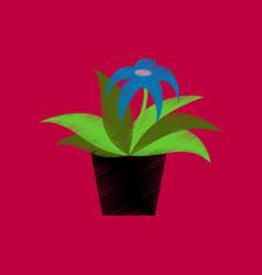 flat shading style icon flowering pot vector image