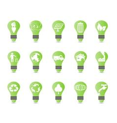 green light bulb icon set vector image