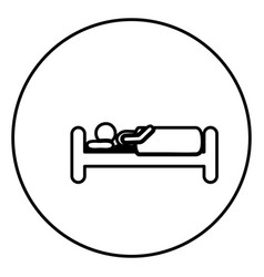 monochrome contour circular frame with person in vector image