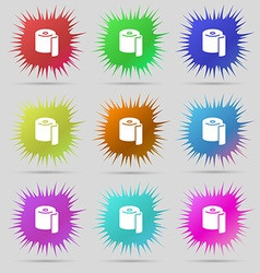 Toilet paper icon sign a set of nine original vector
