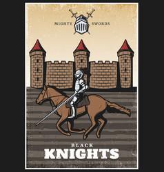 Colorful vintage medieval poster vector