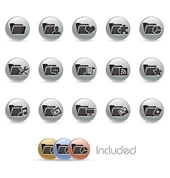 Folder Icons 2 MetalRound Series vector image