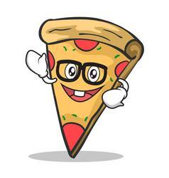 geek face pizza character cartoon vector image vector image