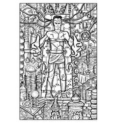 laboratory monster engraved fantasy vector image