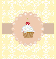 muffin on ornament background vector image vector image