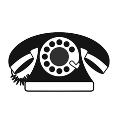 Retro red telephone black simple icon vector image vector image