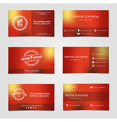 Set of business cards for wine vector image