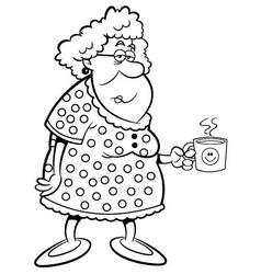 Cartoon old lady holding a mug vector image