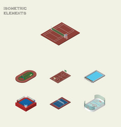 Isometric lifestyle set of ice games basin vector