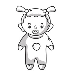 line baby girl with pacifier and hairstyle vector image vector image