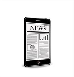Reading newspaper with smartphone vector image vector image