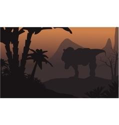 Silhouette of big T-Rex in hills vector image vector image