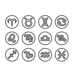 Thin line horoscope icon set vector
