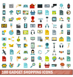 100 gadget shopping icons set flat style vector image