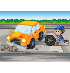 A boy repairing a car at the pedestrian lane vector