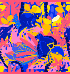 Abstract pattern of the wild lemurs sitting vector