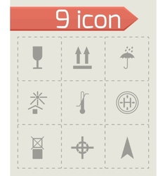 black marking of cargo icons set vector image