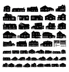 Black residential house silhouette isolated on vector