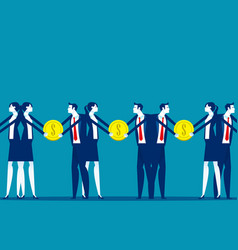 Business people give and take money vector