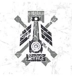 Car service piston emblem vector