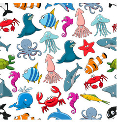 Cartoon fishes and ocean animals pattern vector