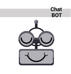 Cartoon robot face smiling cute emotion closed vector