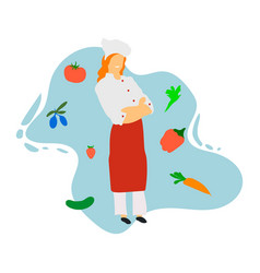 chef in restaurant kitchen cooking cute cook vector image