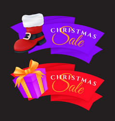 christmas sale labels set with gift box and red vector image