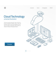 cloud computing technology modern isometric line vector image