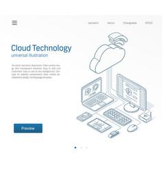 Cloud computing technology modern isometric line vector