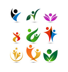 Collection wellness people logo design template vector