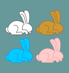 colored rabbit set icon multicolored bunny vector image