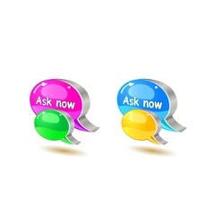 Colorful help bubble chat icon vector