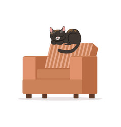 Cute black red cat sleeping on a brown retro vector