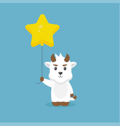Cute goat holding balloon free vector