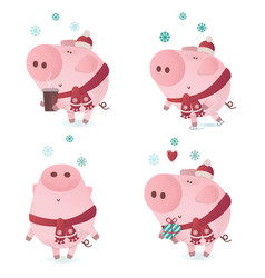 cute piggy character in a winter scarf vector image