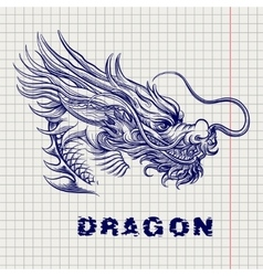 Dragon head sketch on notebook page vector image
