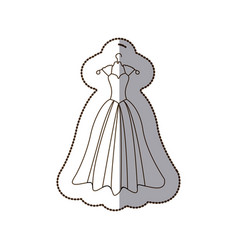 Elegant bride dress icon vector