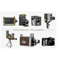 Evolution of the photo video film movie camera vector