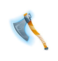 fantasy game battle axe icon vector image