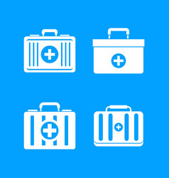 first aid kit icon blue set vector image