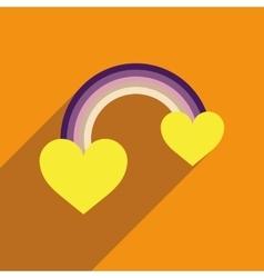 Flat web icon with long shadow rainbow heart vector