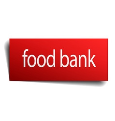 Food bank red paper sign on white background vector