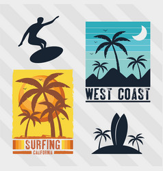 Four surf patches vector