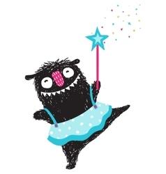 fun monster dancing princess humorous cartoon vector image