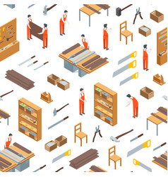 Furniture makers at work and interior seamless vector