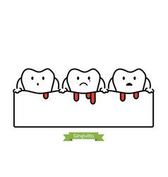 Gingivitis and bleeding - cartoon outline style vector